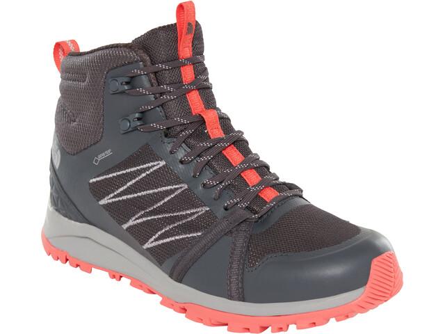 The North Face Litewave Fastpack II Mid GTX Shoes Women ebony grey/fiesta red
